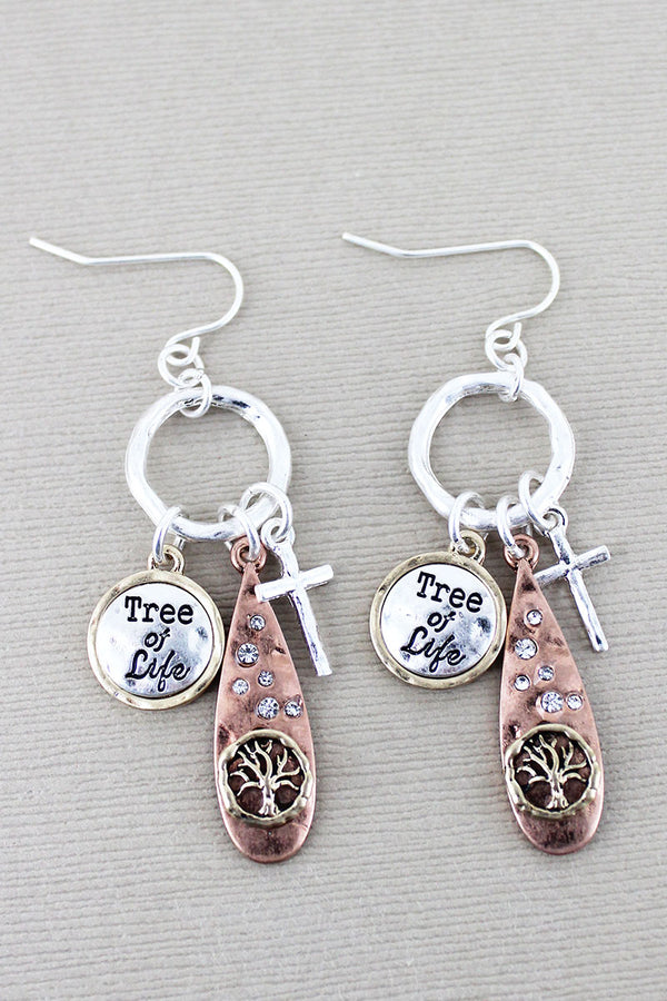Burnished Tri-Tone and Crystal 'Tree Of Life' Charm Earrings