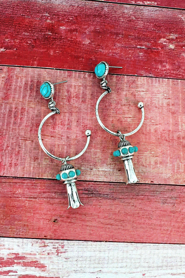 Turquoise Beaded Silvertone Squash Blossom Drop Hoop Earrings