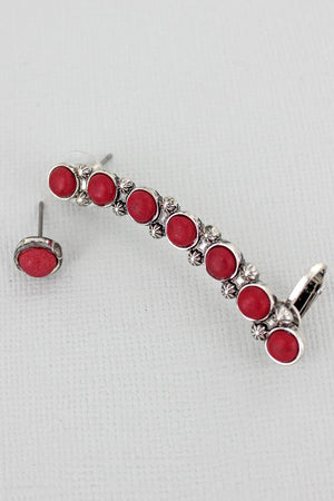 Red Beaded Silvertone Mismatched Earrings
