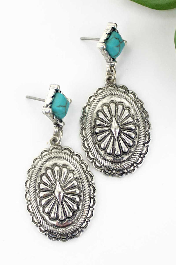 Turquoise Diamond Stud Silvertone Concho Earrings