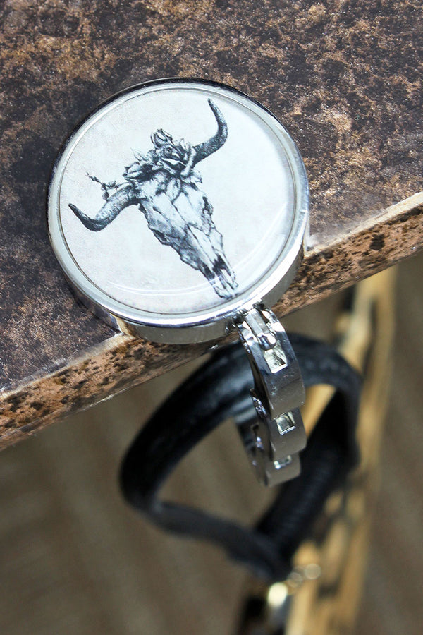 Monochrome Steer Skull Tabletop Purse Hanger