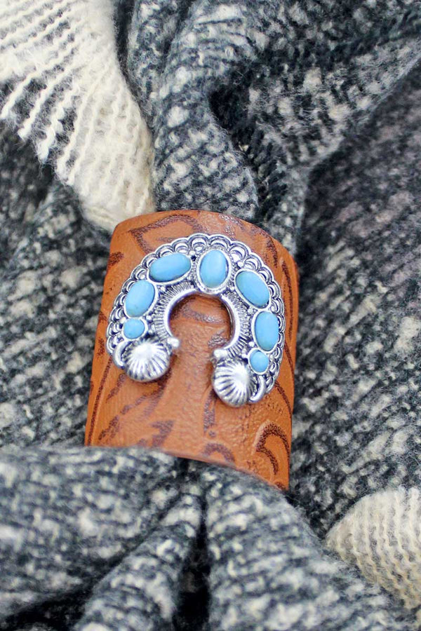Western Naja Brown Tooled Faux Leather Scarf Ring