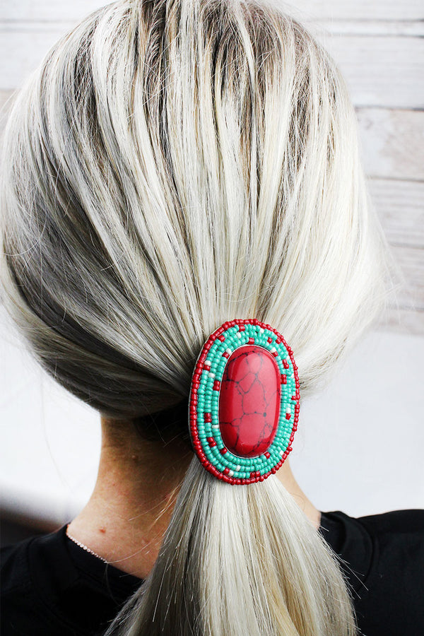 Red and Turquoise Seed Bead Framed Stone Oval Hair Tie
