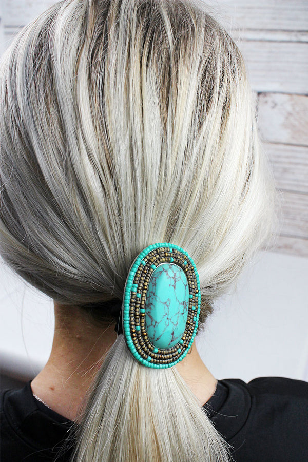 Turquoise and Brown Seed Bead Framed Stone Oval Hair Tie