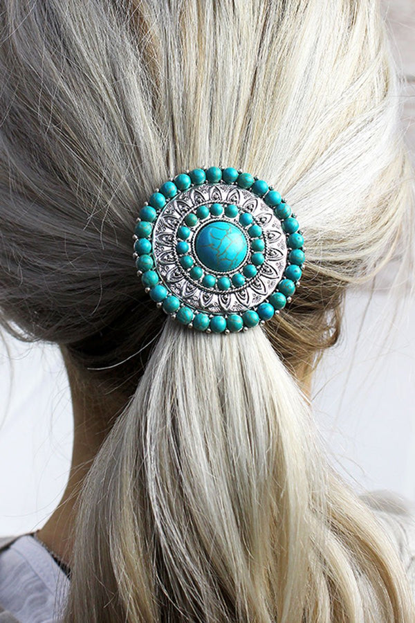 Turquoise Beaded Silvertone Medallion Hair Tie