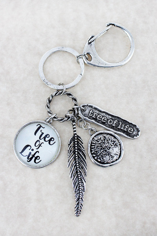 Burnished Silvertone 'Tree Of Life' Bubble Disk Charm Keychain