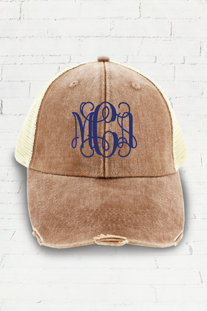 Distressed Ollie Trucker Cap, Mississippi Mud and Tan #OL102
