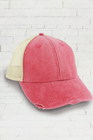 Distressed Ollie Trucker Cap, Nautical Red and Tan #OL102