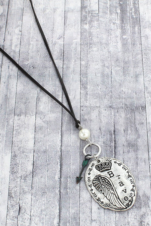 Silvertone and Patina 'Brave' Pendant Cord Necklace