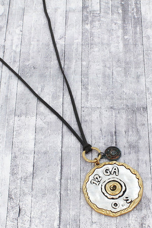 Worn Two-Tone and Patina 12 Gauge Bullet Pendant Cord Necklace