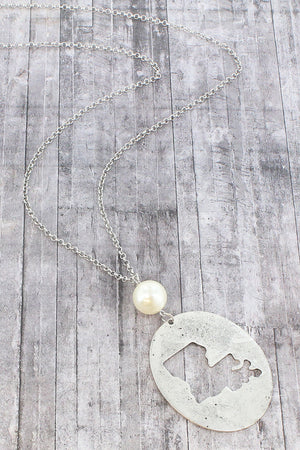 Burnished Silvertone Cut-Out Louisiana and Pearl Pendant Necklace