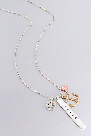 Tri-Tone 'Faith' Bar and Anchor Cluster Pendant Necklace #ON1386-3TCRY