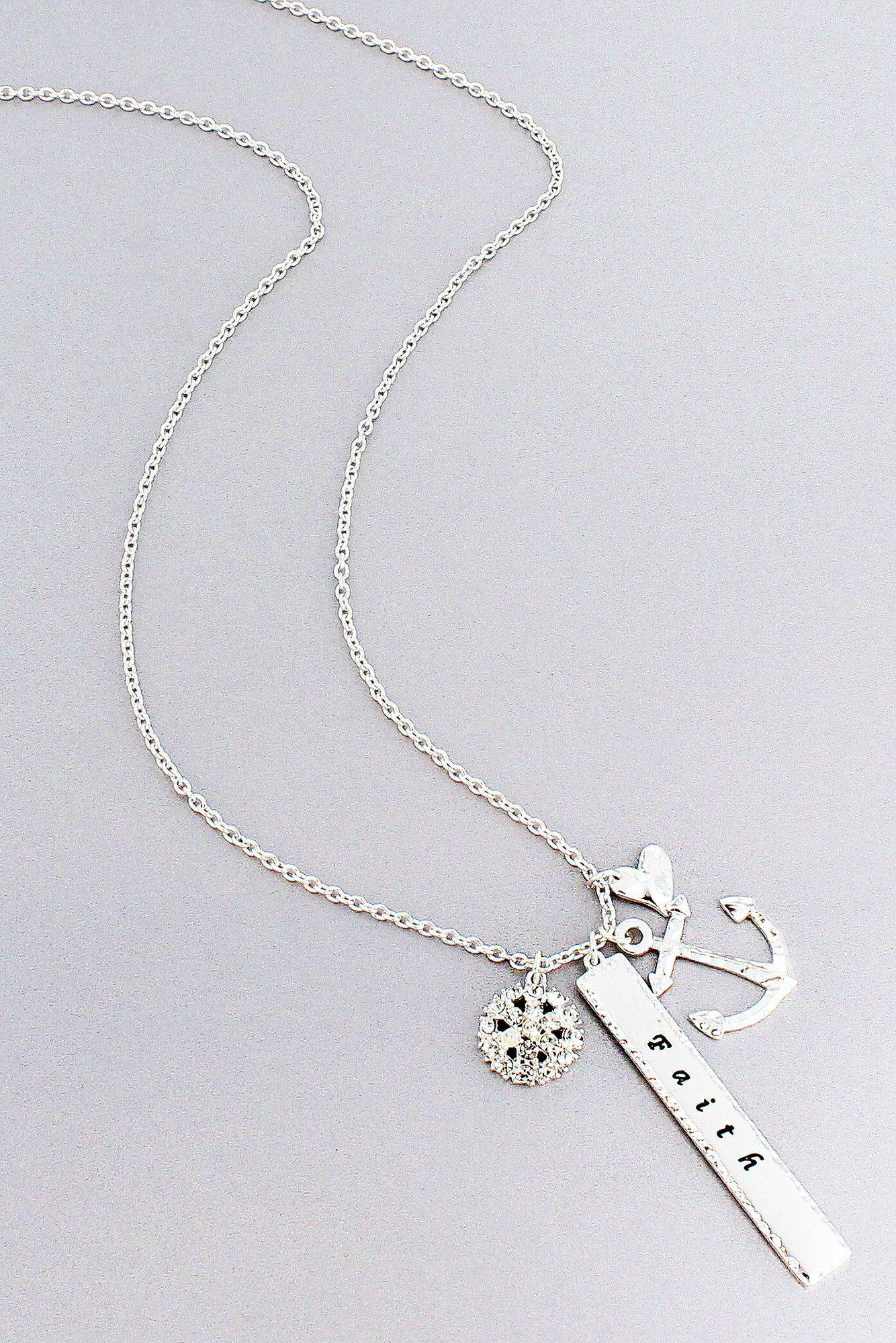 Silvertone faith bar and anchor cluster pendant necklace on1386 silvertone faith bar and anchor cluster pendant necklace on1386 ascry aloadofball Image collections