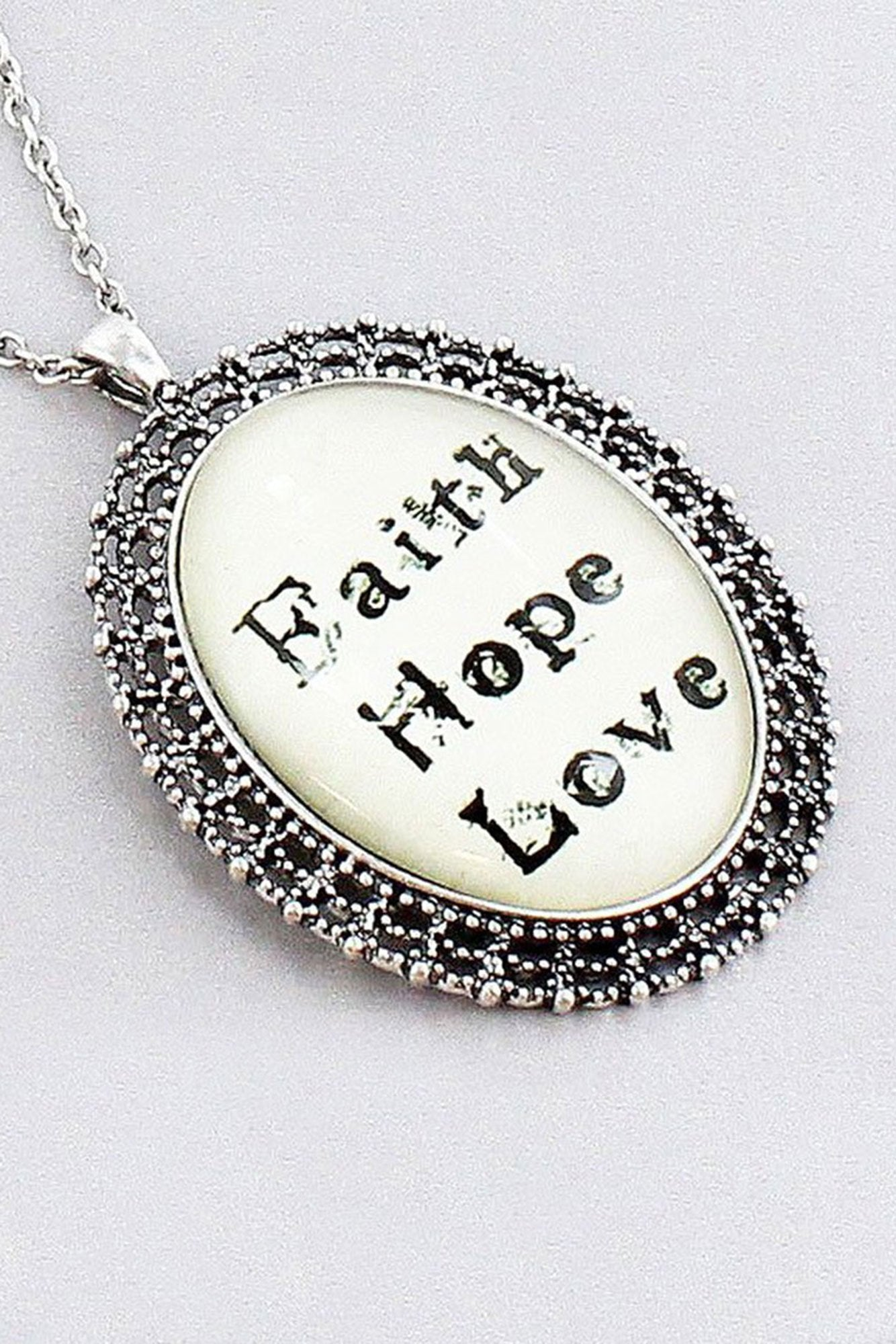 Burnished silvertone faith hope love bubble pendant necklace ewam burnished silvertone faith hope love bubble pendant necklace aloadofball Image collections