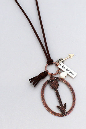Worn Coppertone 'Be Brave' Arrow Brown Cord Necklace