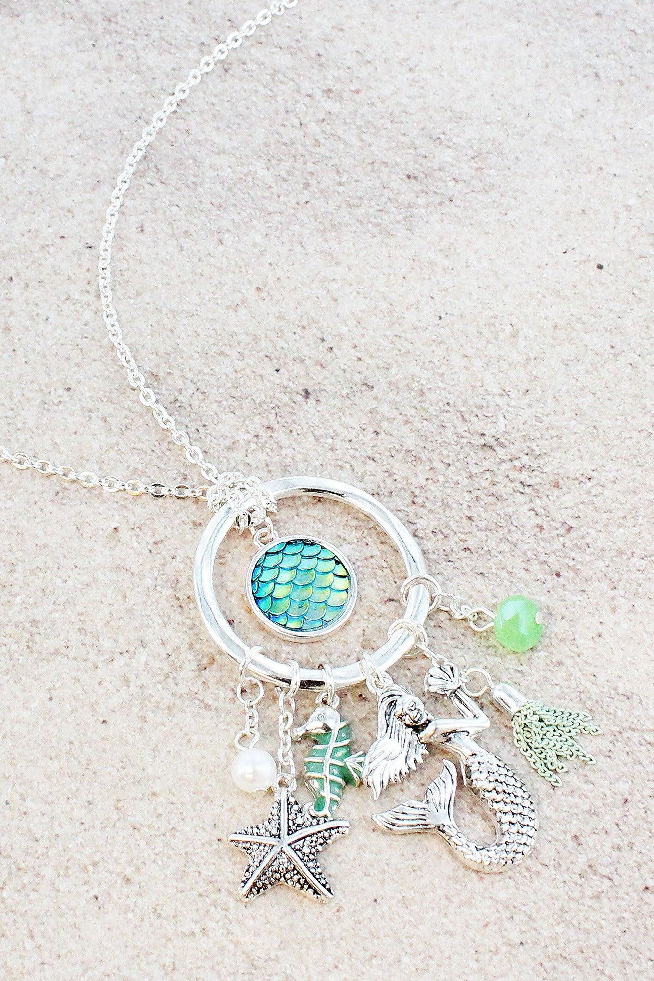 Silvertone mermaid and green scales cluster pendant necklace ewam silvertone mermaid and green scales cluster pendant necklace aloadofball Images