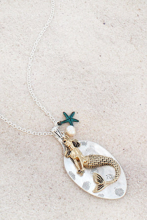 Tri-Tone Mermaid and Spoon Pendant Necklace