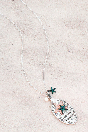 Tri-Tone 'Wish Upon A Starfish' Spoon Pendant Necklace