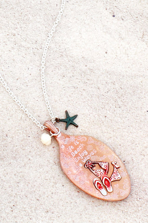 Tri-Tone and Red 'Life Is A Beach' Bikini Spoon Pendant Necklace