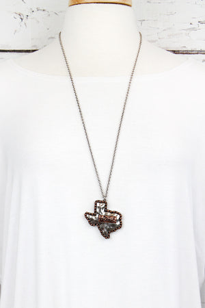 Burnished Silvertone and Coppertone 'Home' Texas Necklace