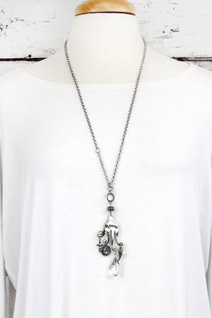 Burnished Silvertone 'Blessed' Fork Charm Pendant Necklace