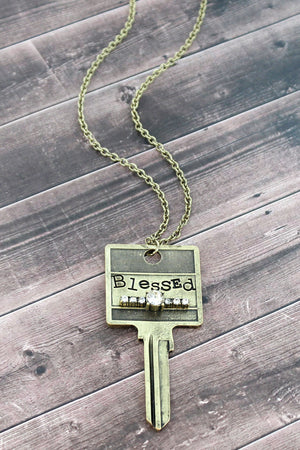 Burnished Brasstone and Crystal 'Blessed' Key Necklace