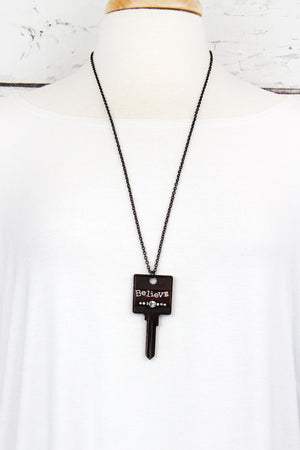 Dark Brasstone and Crystal 'Believe' Key Necklace