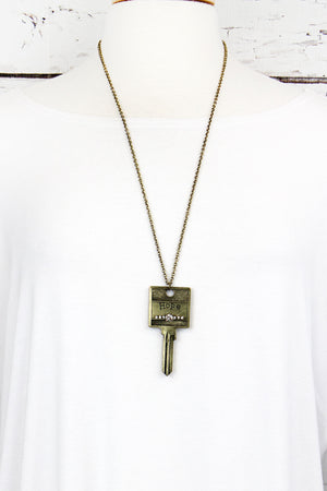 Burnished Brasstone and Crystal 'Hope' Key Necklace