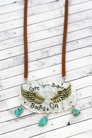 Burnished Two-Tone with Turquoise Stone 'Brave Boots' Cord Necklace