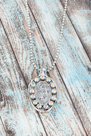 Burnished Silvertone and Iridescent Rhinestone 'Y'all Need Love' Spoon Necklace