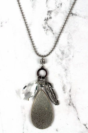 Brass Faux Leather Teardrop and Feather Cluster Pendant Necklace