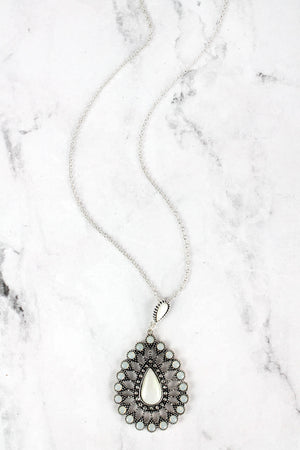 Mother of Pearl and Crystal Accented Silvertone Teardrop Necklace