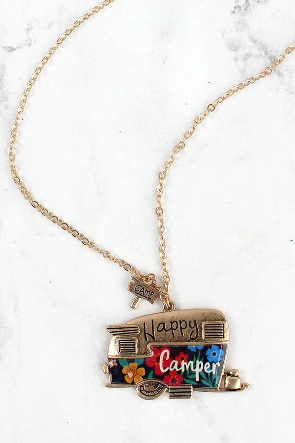 Floral and Goldtone Happy Camper Pendant Necklace