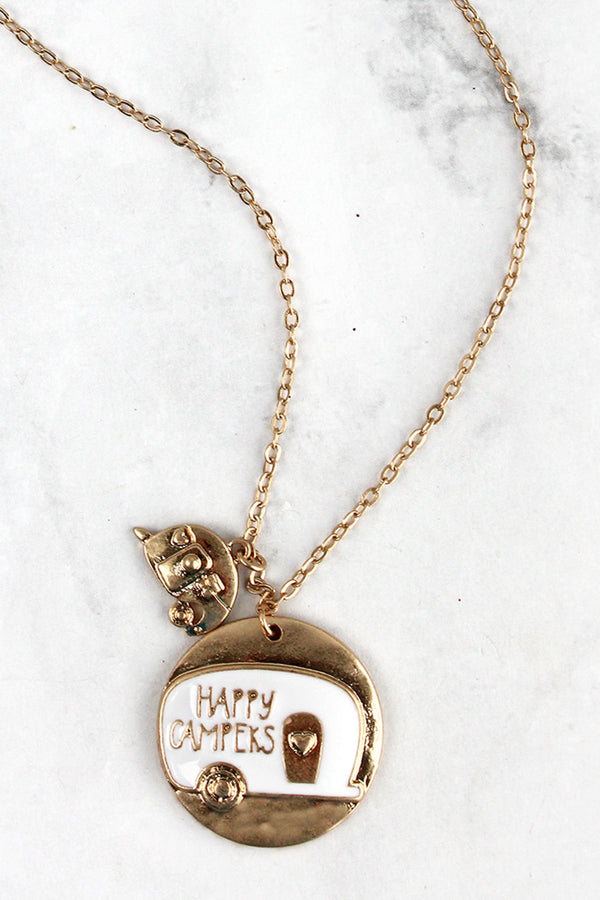 Matte Goldtone and White Happy Campers Pendant Necklace