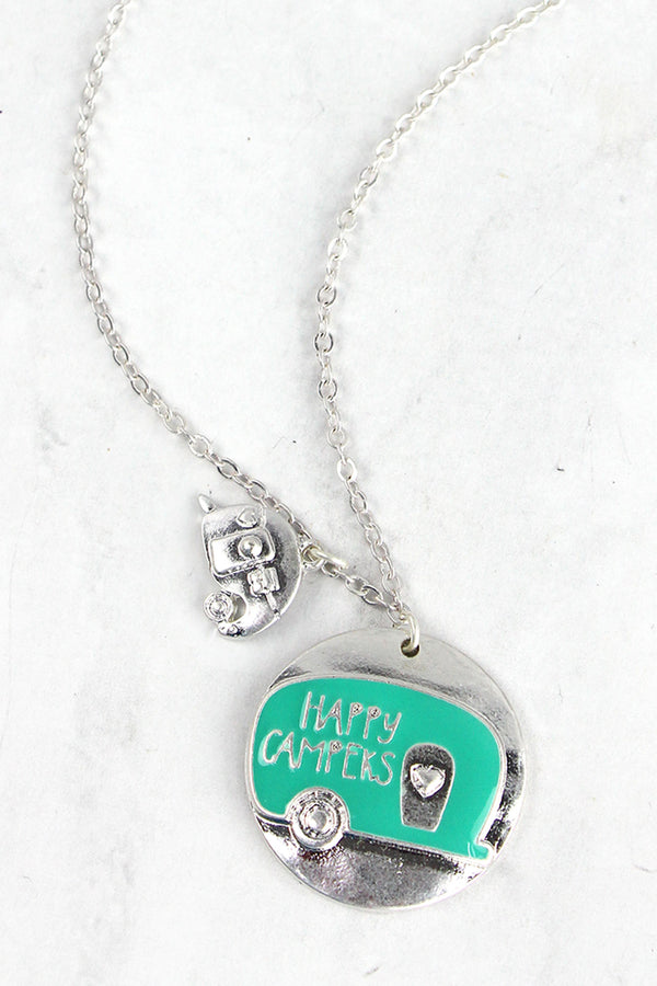 Matte Silvertone and Mint Happy Campers Pendant Necklace