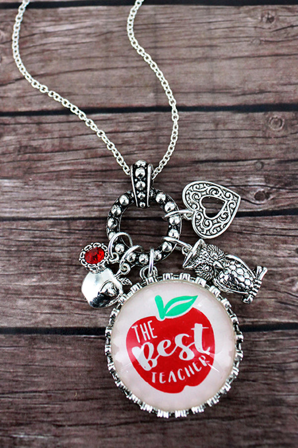 Silvertone 'Best Teacher Ever' Bubble Charm Pendant Necklace