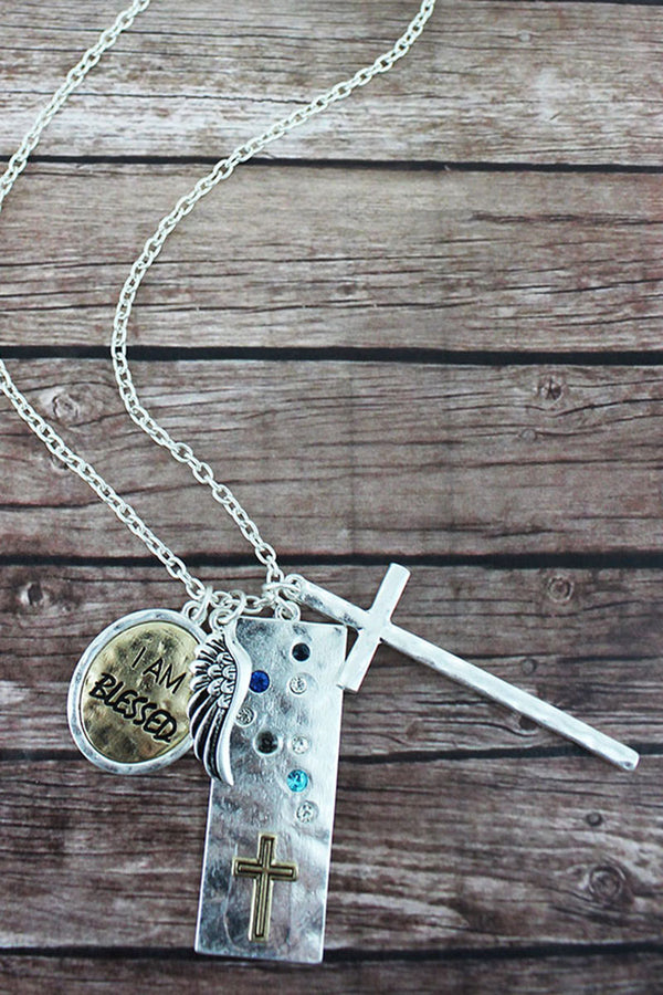 Two-Tone and Multi-Color Crystal 'I Am Blessed' Cluster Pendant Necklace