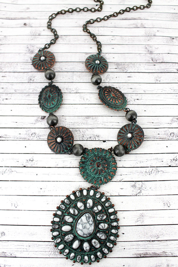 White Beaded Patina Concho Pendant Necklace