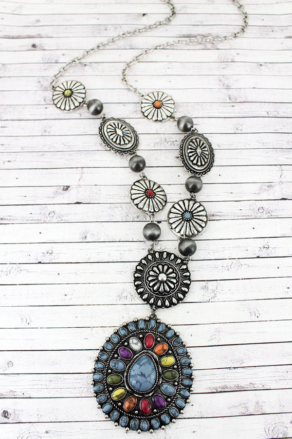 Multi-Color Beaded Silvertone Concho Pendant Necklace