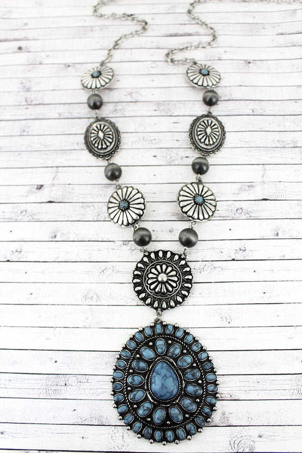 Steel Blue Beaded Silvertone Concho Pendant Necklace