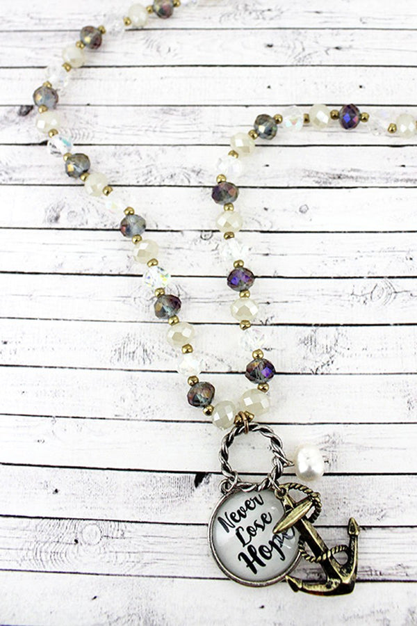 Anchor & 'Never Lose Hope' Bubble Pendant Iridescent Beaded Necklace