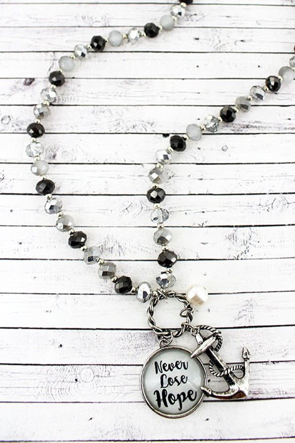 Anchor & 'Never Lose Hope' Bubble Pendant Monochrome Beaded Necklace