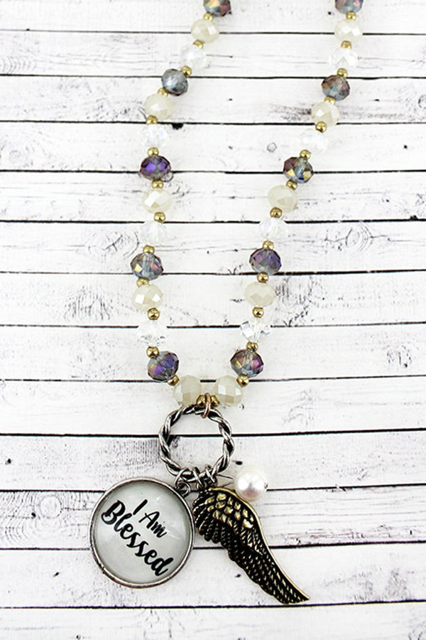 Feather & 'I Am Blessed' Bubble Pendant Iridescent Beaded Necklace
