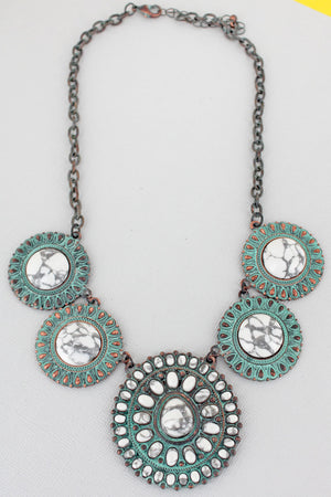 White Stone Beaded Patina Western Disk Bib Necklace