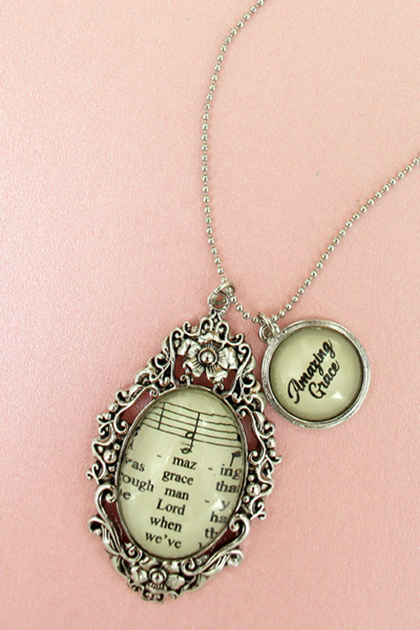 Silvertone Amazing Grace Hymn Bubble Pendant Necklace