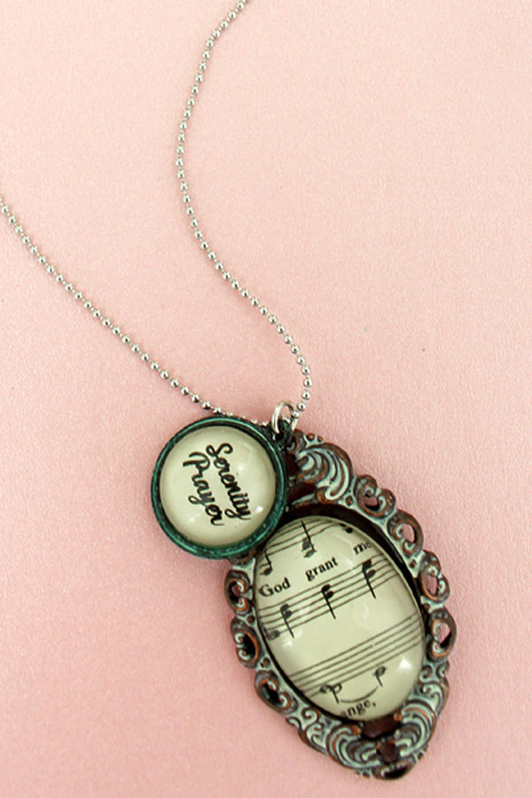 Tri-Tone Serenity Prayer Hymn Bubble Pendant Necklace