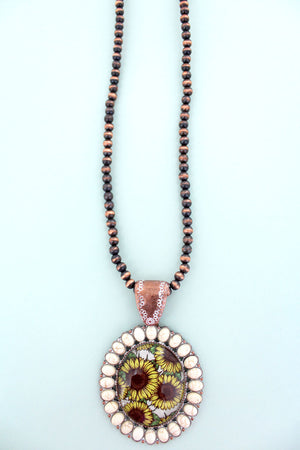 White Stone Framed Sunflower Bubble Pendant Navajo Inspired Pearl Necklace