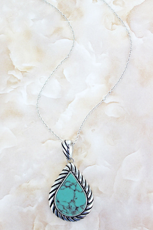 Silvertone Rope Framed Turquoise Teardrop Necklace