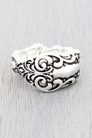 Antique Silvertone Floral Scroll Spoon Ring