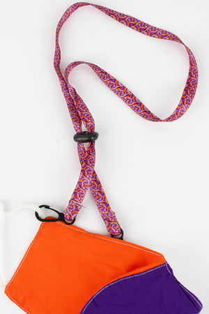 Purple and Orange Tie-Dye Face Mask Lanyard